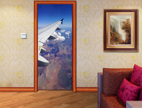Airplane Wing View Landscape DIY DOOR WRAP Decal Removable Sticker D161
