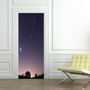 Starry Night Comet DIY DOOR WRAP Decal Removable Sticker D171