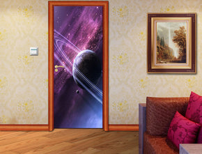 Space Purple Planet DIY DOOR WRAP Decal Removable Sticker D172