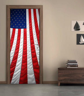 US American Flag DIY DOOR WRAP Decal Removable Sticker D177