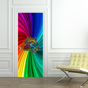 Rainbow Lion DIY DOOR WRAP Decal Removable Sticker D190