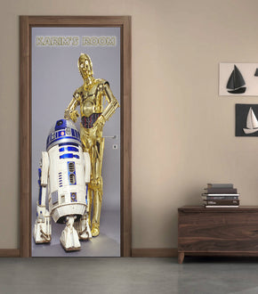 Star Wars R2D2 C3PO Personalized Name DOOR WRAP Decal Removable Sticker D192