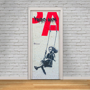 Banksy Swing Girl Personalized Name DOOR WRAP Decal Removable Sticker D196