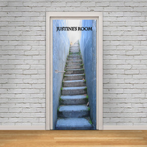 Stairway Illusion Personalized Name DOOR WRAP Decal Removable Sticker D214