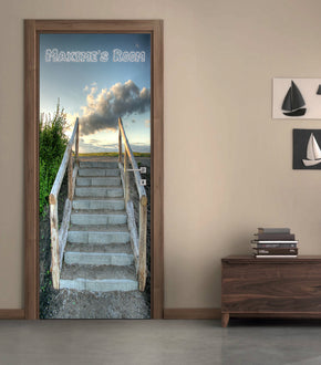 Stairway To Heaven Personalized Name DOOR WRAP Decal Removable Sticker D215