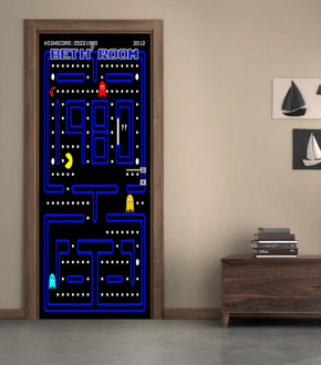 Pacman Personalized Name DOOR WRAP Decal Removable Sticker D223