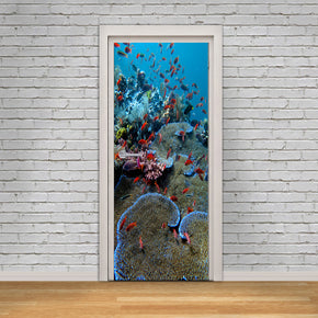 Coral Reef & Fish DIY DOOR WRAP Decal Removable Sticker D236