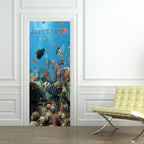 Tropical Fish Coral Reef Personalized Name DOOR WRAP Decal Removable Sticker D237