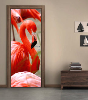 Flamingo Birds DIY DOOR WRAP Decal Removable Sticker D248