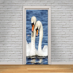 Swans Birds DIY DOOR WRAP Decal Removable Sticker D254