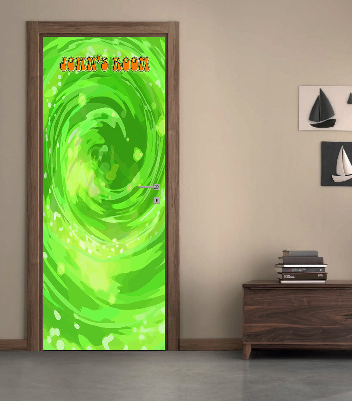 Rick Morty Portal Personalized Name Door Wrap Decal Removable