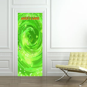 Rick & Morty Portal Personalized Name DOOR WRAP Decal Removable Sticker D264