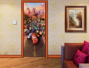 Cars Movie Characters DIY DOOR WRAP Decal Removable Sticker D27