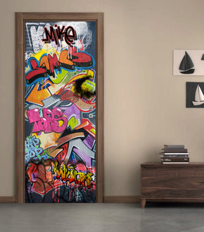 GRAFFITI DIY DOOR WRAP Decal Removable Sticker D316