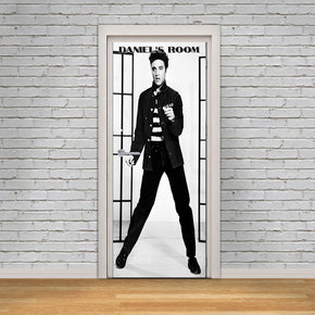 Elvis Presley Personalized Name DOOR WRAP Decal Removable Sticker D42