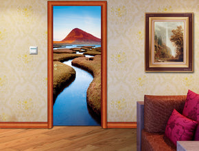 Lake Mountain Landscape DIY DOOR WRAP Decal Removable Sticker D78