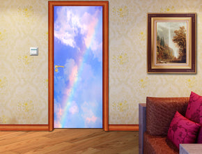 Rainbow Sky Clouds DIY DOOR WRAP Decal Removable Sticker D90