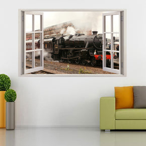 Black Train 3D Window Wall Sticker Decal H104