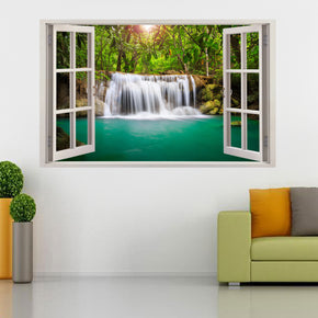 Waterfall Fantasy Forest 3D Window Wall Sticker Decal H113