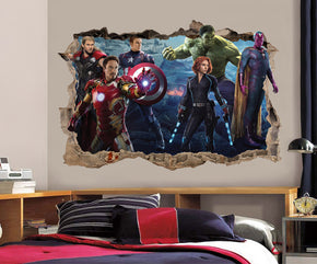 The Avengers Decal 3D Smashed Broken Wall Sticker H145