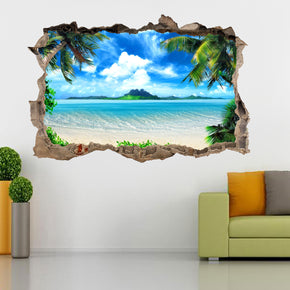 Exotic Beach 3D Smashed Broken Decal Wall Sticker