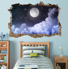 Full Moon Stary Night 3D Smashed Broken Decal Wall Sticker