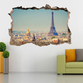 Eiffel Tower Paris 3D Smashed Broken Decal Wall Sticker H174