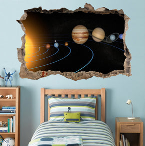 Solar System Planets 3D Smashed Broken Decal Wall Sticker