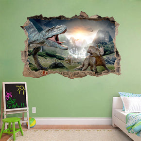 Dinosaurs 3D Smashed Broken Decal Wall Sticker