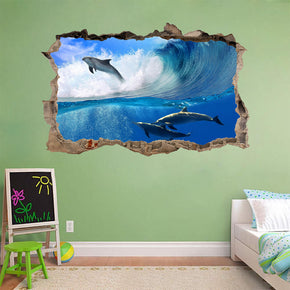 SURFING DOLPHINS 3D Smashed Broken Decal Wall Sticker