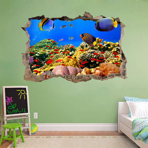 Underwater Tropical Coral Reef 3D Smashed Broken Decal Wall Sticker