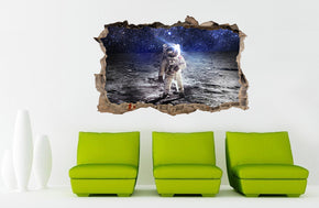 ASTRONAUT On Moon Space 3D Smashed Sticker mural autocollant cassé