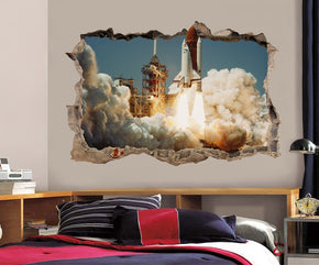 Space Shuttle Lift-Off 3D Smashed Broken Decal Wall Sticker