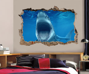 Shark Attack 3D Smashed Broken Decal Wall Sticker