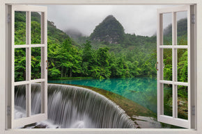 Waterfall Jungle Forest 3D Window Wall Sticker Decal H480