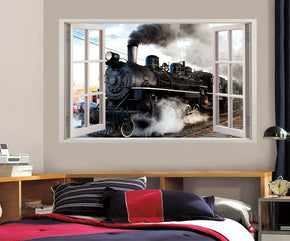 Black Train 3D Window Wall Sticker Decal