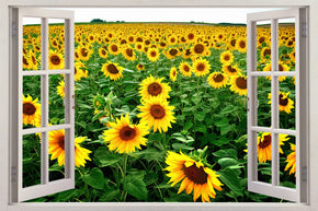 Sunflower Field 3D Window Wall Sticker Decal H563