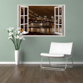 Brooklyn Bridge New York Night 3D Window Wall Sticker Decal