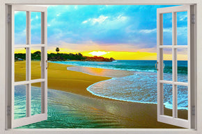 Exotic Beach Sunset 3D Window Wall Sticker Decal H613