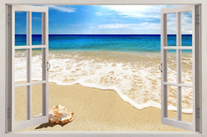 Exotic Beach 3D Window Wall Sticker Decal H614