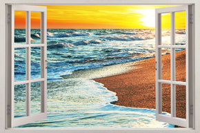 Exotic Beach Sunset 3D Window Wall Sticker Decal H615