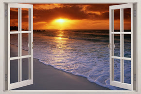Exotic Beach Sunset 3D Window Wall Sticker Decal H616