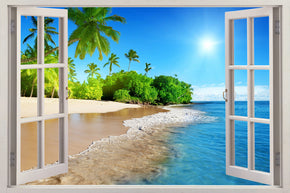 Exotic Tropical Beach 3D Window Wall Sticker Decal H618