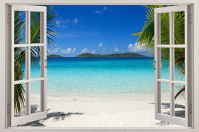 Exotic Tropical Beach 3D Window Wall Sticker Decal H619