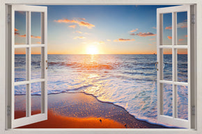 Beach Sunset 3D Window Wall Sticker Decal H620