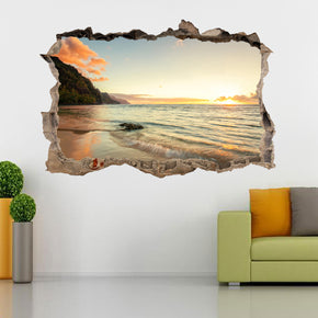 Beach Sunset 3D Smashed Broken Decal Wall Sticker