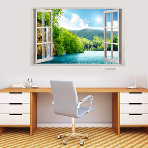 Forest Lake Scene 3D Window Wall Sticker Decal