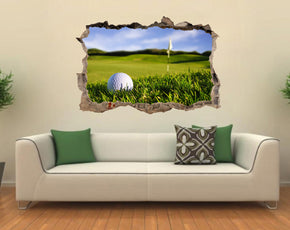 Golf Course 3D Smashed Broken Decal Wall Sticker