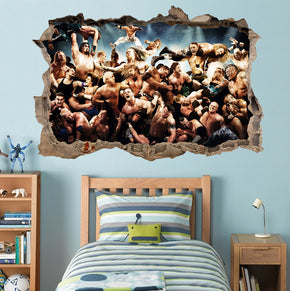 WWE Wrestlers 3D Smashed Broken Decal Wall Sticker H824