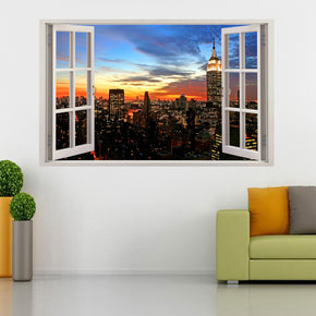 New York City Skyline Sunset 3D Window Wall Sticker Decal H87